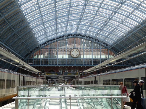 The restored 19th century train shed at St Pancras International, as used by Eurostar.