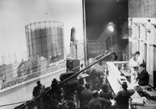 Jack Warner and Len Hutton on the film set.