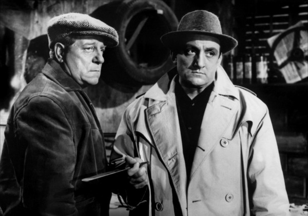 Jean Gabin (left) and Lino Ventura (right), two great stars of the polar in Rouge est mis (France 1957) part written by Jacques Audiard's Dad, Michel Audiard
