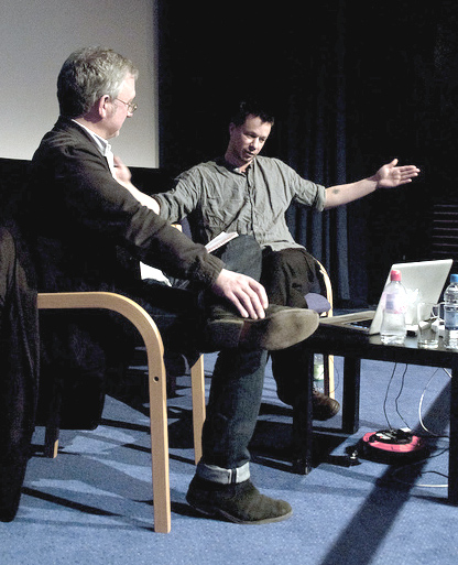 JH Engstrom in conversation with NMeM curator Greg Hobson (photo by Paul Thompson for NMeM)