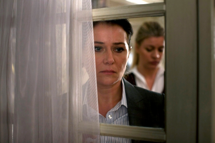 A wonderful melodrama composition featuring Birgitte (Sidse Babett Knudsen) and behind her Cecilie, Birgitte's husband's new partner. (High res image courtesy DR taken from the website at http://www.linktv.org/borgen/press)