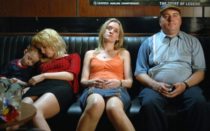 Pat Sortt as Josie in the bar with Carmel (Anne-Marie Duff in the orange top)