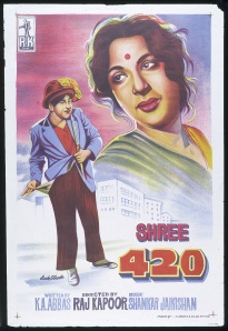 A poster for Raj Kapoor's 1955 film 'Shree 420' featuring his Charlie Chaplin-type character. (This image is from the Victoria & Albert Collection – similar Rak Kapoor posters are in the NMeM exhibition)