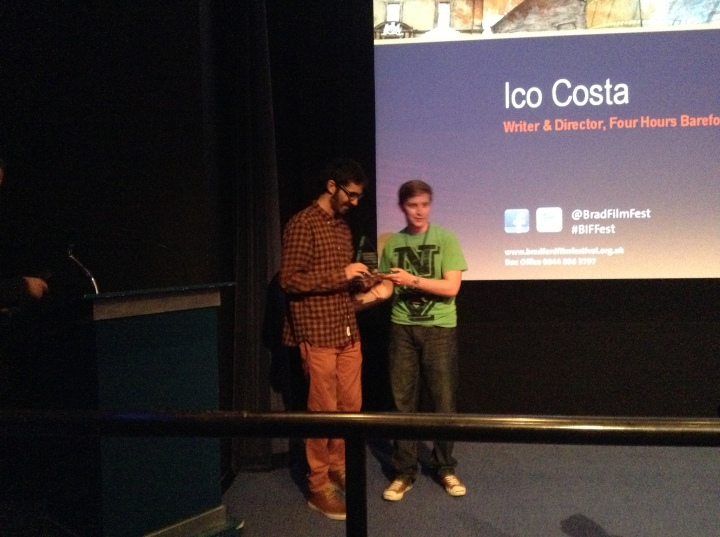 Ico Costa receives the Shine Award from local film programmer Michael Wood