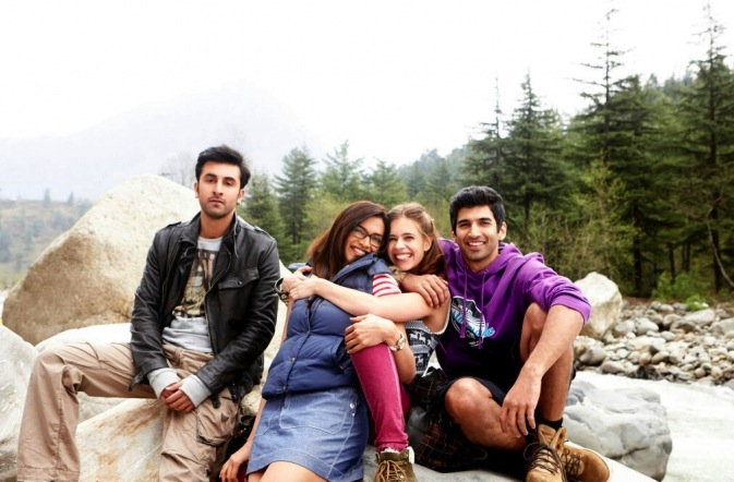 The four friends on the trekking holiday – a composition that clearly attempts to resemble a conventional holiday photograph.