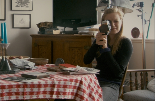 Sarah Polley with the Super 8 camera in one of the interview locations (love the cat).