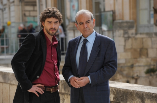 Michele Riondino as Salvo Montalbano and Andrea Tidona as the Fazio senior (from http://www.palomaronline.com/en/miniserietv/il-giovane-montalbano)