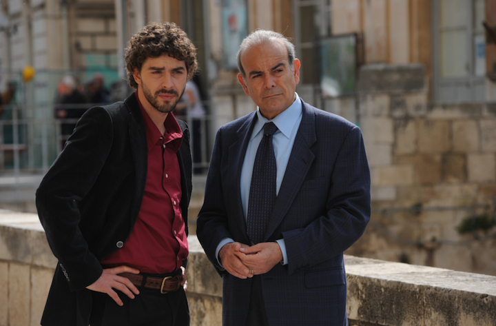 Michele Riondino as Salvo Montalbano and Andrea Tidona as the Fazio senior (from http://www.palomaronline.com/en/miniserietv/il-giovane-montalbano)
