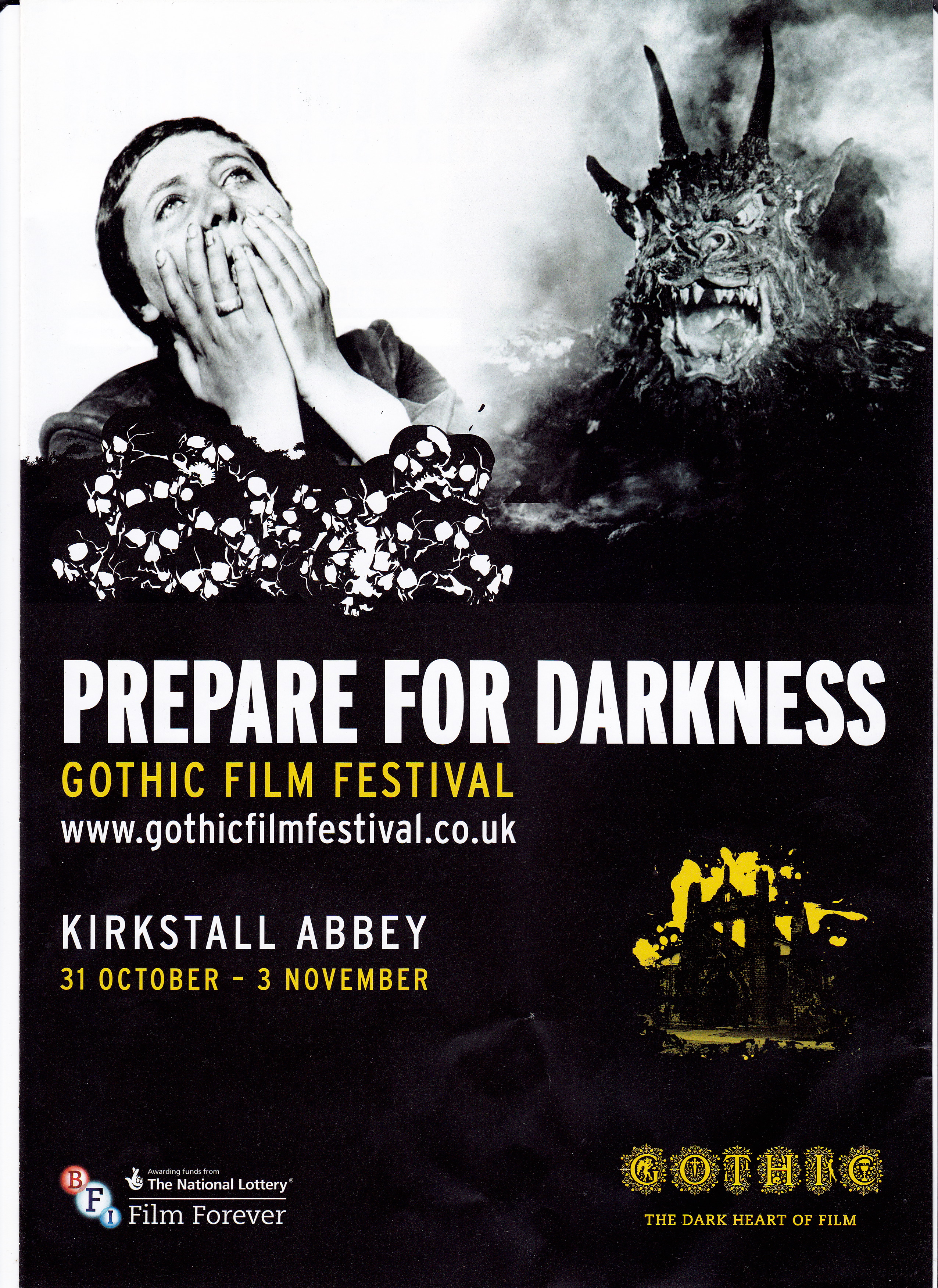 This was the Gothic Film Festival organised by the Cambridge Film Trust at  the Kirkstall Abbey ruins in Leeds  close by the River Aire. The Gothic   The Case for Global Film