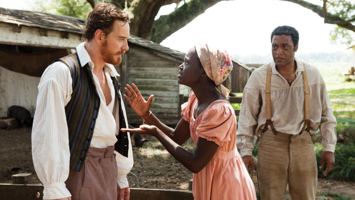 Michael Fassbender as 'Master Epps', Lupita Nyong'o as Patsey and Chiwetel Ejiofor as Solomon