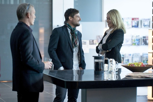 Katrine meets the new TV1 executive who is making life difficult for Torben Friis (left) in Borgen 3