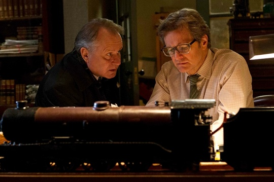 The older Lomax (Colin Firth) with Finlay (Stellan Skarsgard) one of the other survivors of the camp.
