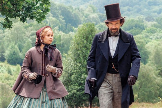 Felicity Jones as Nelly Ternan and Ralph Fiennes as Charles Dickens