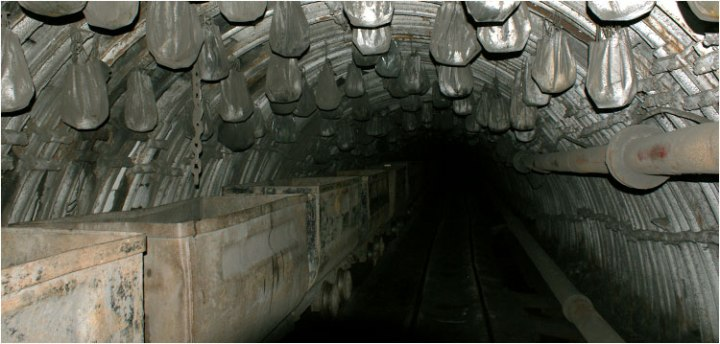 380 metres underground – unbelievable perhaps, but the plastic bags suspended from the roof are filled with water as a fire safety measure!