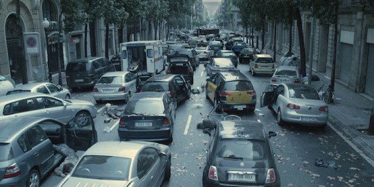 The abandoned cars after the virus strikes