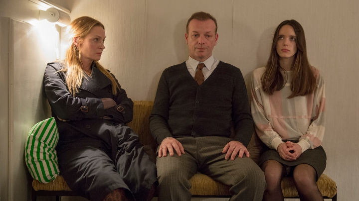 Uma Thurman, Hugo Speer and Stacey Martin. Speer's character wants to leave his wife (Thurman) and move in with Jo.
