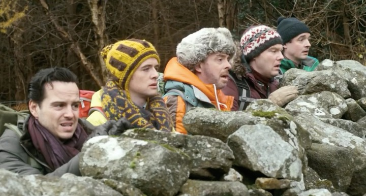 The group in despair watching the carefree antics of The Machine. (From left) Andrew Scott (Davin), Michael Legge (Little Kevin), Andrew Bennett (Big Kevin), Brian Gleeson (Simon) and Hugh O'Conor (Finnan)