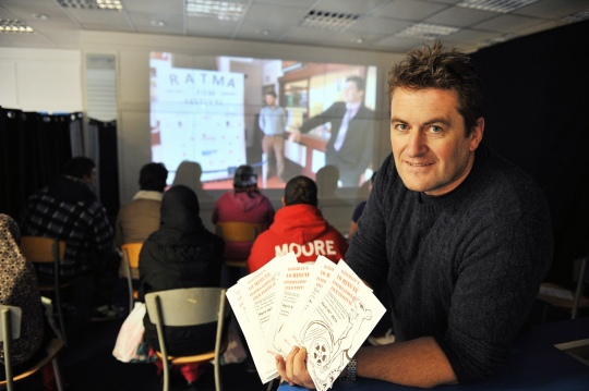 Marcus Gregg in the RATMAFF pop-up cinema. Image from http://www.keighleynews.co.uk/news/11158968.Parakeet_premiere_is_popup_highlight_in_Keighley/