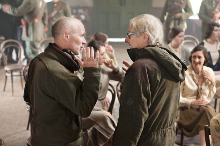Paul Laverty (left) and Ken Loach on set for JIMMY'S HALL