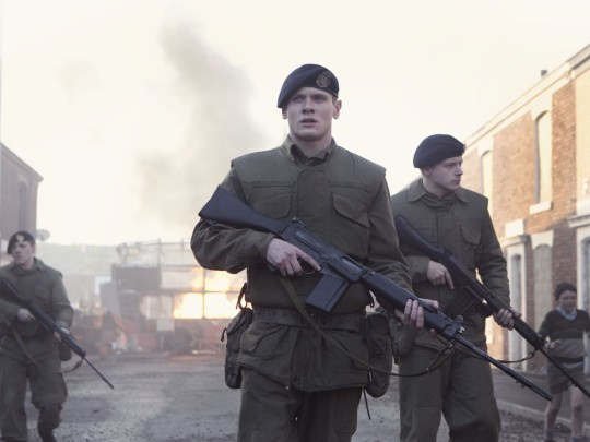 Private Hook (Jack O'Connell)  has a steep learning curve on the reality of life on the streets of Belfast