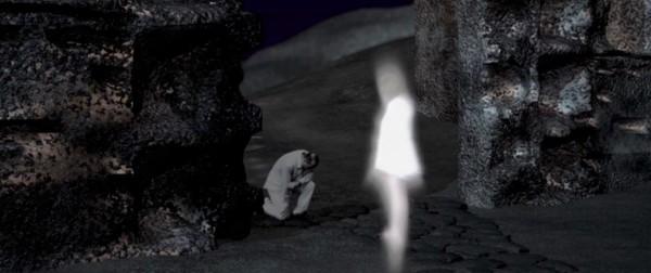 Beatrice (Eleonora Pizzoccheri) recruits Virgilio (Francesco Cevaro) to be Dante's guide through The Inferno