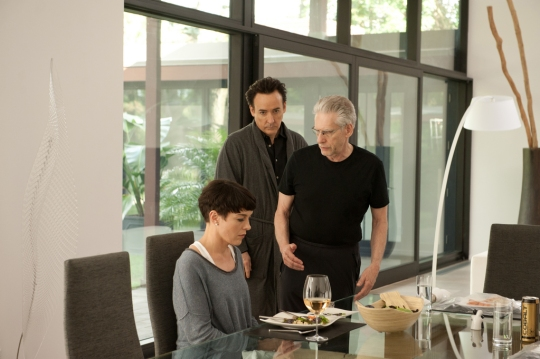 David Cronenberg on set with John Cusack and Olivia Williams.