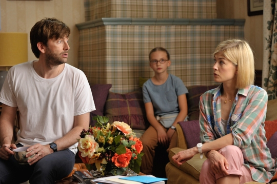 David Tennant and Rosamund Pike with Emilia Jones as Lotte.