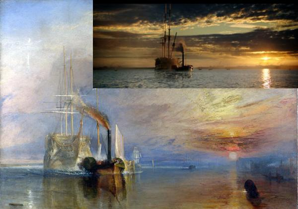 The inset showing the scene from the film against Turner's painting of HMS Temeraire being taken to the breakers' yard' (from IndieWire – see link below)