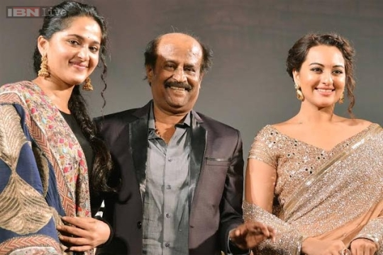 Rajini minus the make-up with his two leading ladies, Anushka Shetty (left) and Sonakshi Sinha at the audio launch for the film.