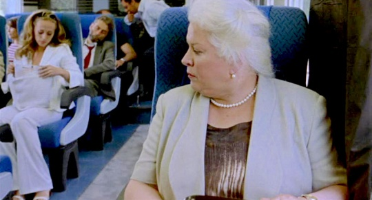 The airline style seats in the second train help to direct the gaze more directly.