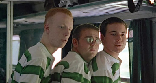The football supporters (l-r William Ruane, Gary Maitland and Martin Compston)