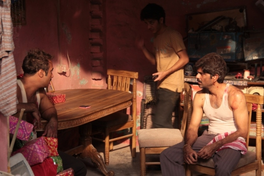 The natural light effect in the brothers' home with (from left) Vikram (Ranvir Shorey), Titli (Shashank Arora) and Pradeep (Amit Sial)
