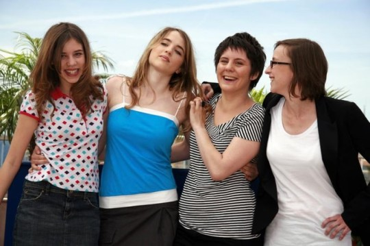 The three leads (from left)  and director Céline Sciamma at Cannes