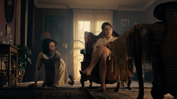Sidse Babett Knudsen as the 'mistress' Cynthia and Chiara D'Anna as Evelyn the 'maid'.