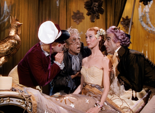 Moira Shearer as the doll in the tale of 'Olympia' with (from left) Frederick Ashton, Robert Helpmann and Leonid Massine