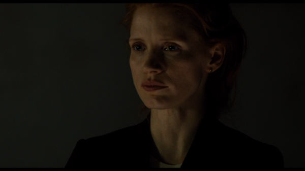 Chastain as Maya - swallowing back her responses.