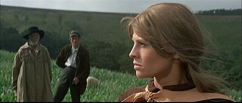 Julie Christie as Bathsheba Everdene in the scene where she has dismissed Gabriel Oak, but now feels that she needs him back.