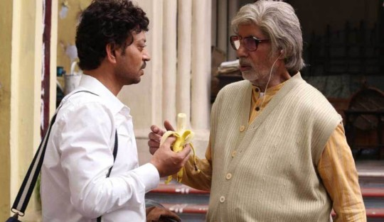 Irrfan Khan and Amitabh Bachchan discuss diet and bowel movements.