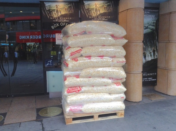 A daily delivery in Leicester Square?  The exhibitor's profits on the pavement.