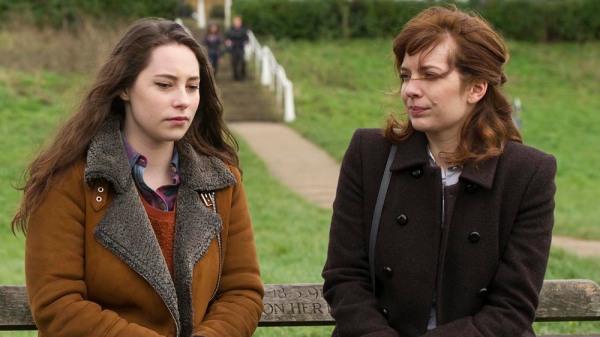 Laura Hawkins (Katherine Parkinson) having an intense moment with her eldest daughter Mattie (Lucy Carless)