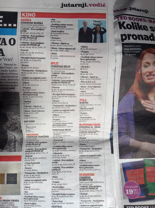 Cinema listings in Dalmatia for 23rd September.