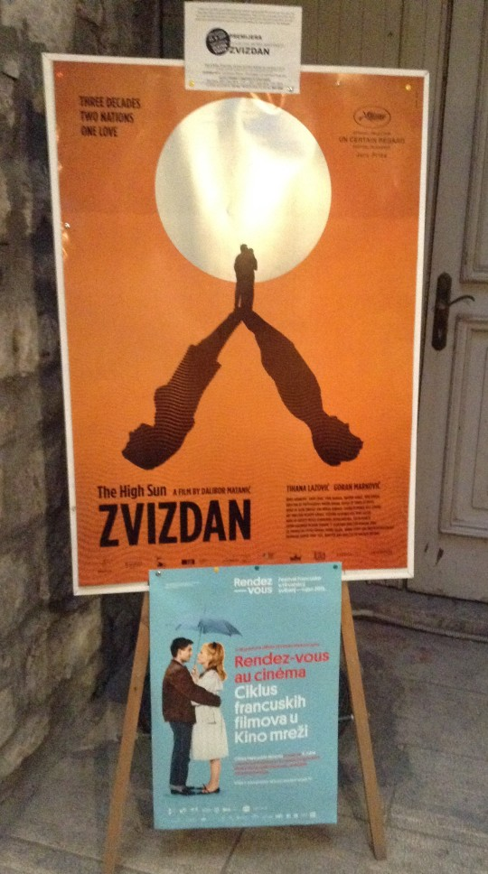 The Kinoteka has been showing French New Wave films with a revival of Jacques Demys Les paraplieues de Cherbourg. The larger poster refers to the latest Croatian film shown at Cannes, Zvizdan