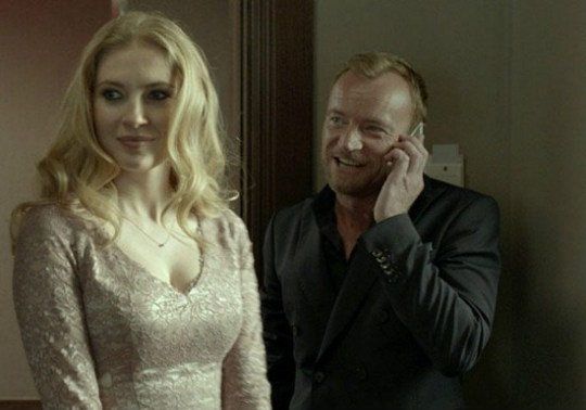 The actress (Paulina Chapko) and the producer (Richard Dormer).