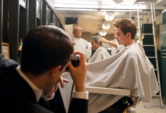 Robert Pattinson as Dennis Stock shoots Dane DeHaan as James Dean in 'Life' (Photo by Caitlin Cronenberg)