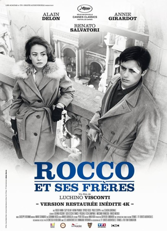 The French poster for the restored film showing Annie Girardot and Alain Delon. (The image from the film has been inverted for some reason.)