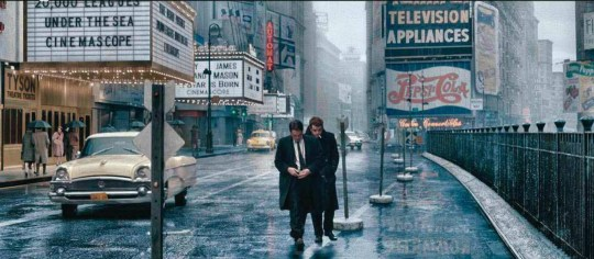 Dennis Stock (Robert Pattinson) about to take the iconic image of James Dean (Dane DeHaan) in Times Square in 1955.