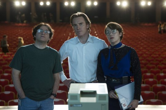 Michael Stuhlbarg, Michael Fassbender and Kate Winslet at the show to launch the Apple 2 in 1985.