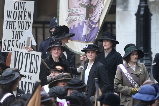 (Left to right in the centre ground) Anne-Marie Duff, Carey Mulligan and Helena Bonham Carter