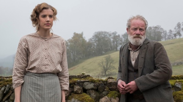 Agyness Deyn as Chris and Peter Mullan as her father. This promotional image presumably is from the Scottish shoot.
