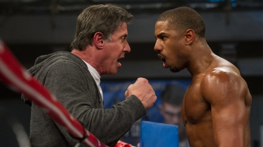 Sylevester Stallone as Rocky Balboa and Michael B. Jordan as Adonis Creed discuss strategy and tactics in the ring!